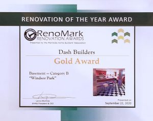 Renomark Gold Award (Windsor Park) - Dash Builders wins three MHBA Renomark Awards including two gold awards for bathroom renovations and a basement renovation! - Award Winning Renovations Winnipeg - Winnipeg Bathroom Renovations - Basement Renovations Winnipeg - Dash Builders