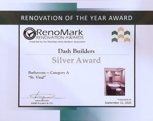 Renomark Silver Award (St. Vital) - Dash Builders wins three MHBA Renomark Awards including two gold awards for bathroom renovations and a basement renovation! - Award Winning Renovations Winnipeg - Winnipeg Bathroom Renovations - Basement Renovations Winnipeg - Dash Builders
