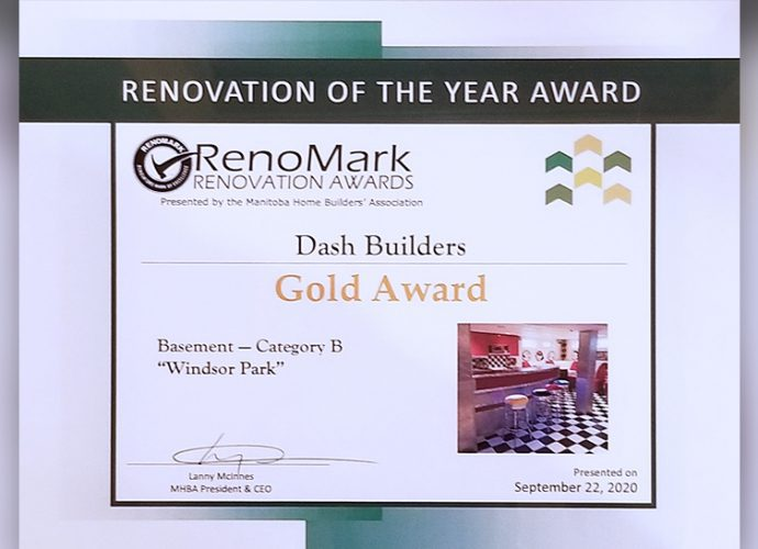 Dash Builders wins three MHBA Renomark Awards including two gold awards for bathroom renovations and a basement renovation! - Award Winning Renovations Winnipeg - Winnipeg Bathroom Renovations - Basement Renovations Winnipeg - Dash Builders